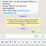 Keine Taxibestellung über WhatsApp Taxi