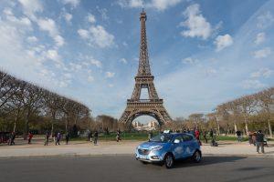 Eines von 60 in Paris geplanten Hyundai ix35-Wasserstoff-Taxis. In der französischen Hauptstadt und Umgebung sind insgesamt rund 17.000 Taxis unterwegs. Foto: Hyundai