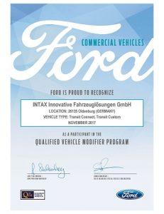 Ford QVM Zertifikat Foto: INTAX